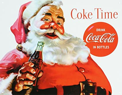 amazon com coca cola coke santa claus christmas tin sign 13 x 16in
