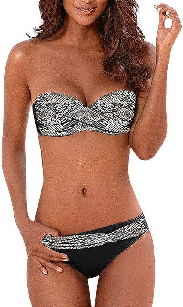 riou Bikinis Mujer 2019 Push Up Trajes de Baño Sexy Bikini con Cintura Alta Acolchado Cosiendo Color Dividido BañAdores Conjunto de Bikini con Relleno Mujeres Playa Beachwear
