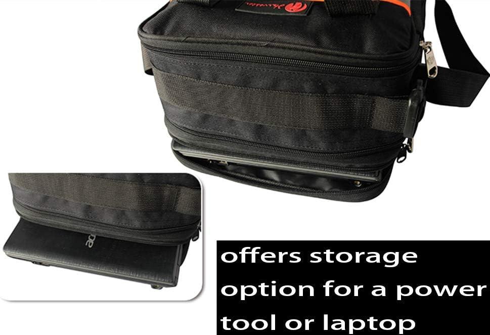bolsa de herramientas profesional con cierre de cremallera Bolsa de herramientas resistente con 4 bases de goma resistentes al desgaste y correa de hombro ajustable