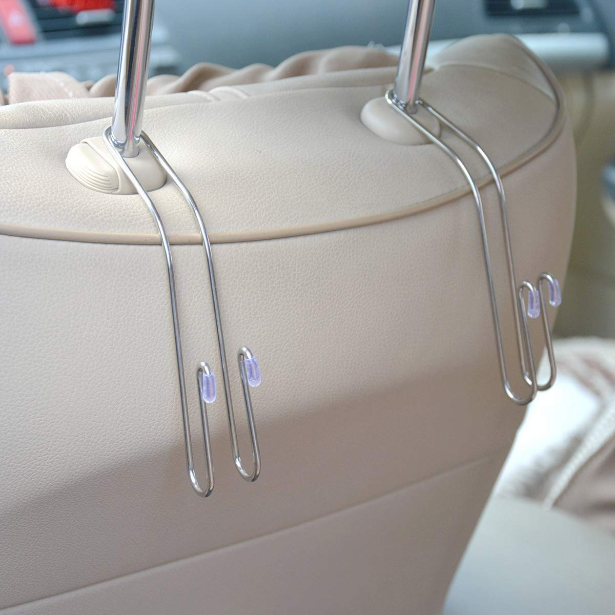 EldHus 4-Pack Car Hooks, Truck Vehicle Back Seat Headrest Hanger Holder Hook for Bag Purse Cloth Coat Grocery (Metallic)