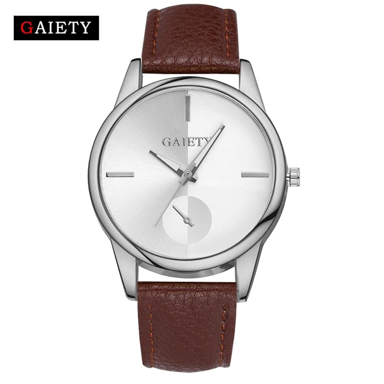 レディースシンプルレザー腕時計、Sinmaシルバーフレームシルバーダイヤル腕時計アナログクオーツラウンド腕時計 シルバー B072LG6YPM