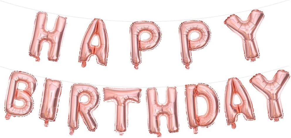 Happy Birthday Banner Rose Gold, Reusable Balloons for Party Decorations and Supplies, 3D Aluminum Lettering Mylar Foil Letters, Inflatable Event Party Decor for Kids, Girls and Adults