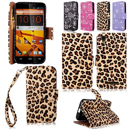 Cellularvilla Wallet Case for ZTE Boost MAX N9520 Pu Leather Wallet Card Flip Open Pocket Case Cover Pouch (Brown Leopard) (Phone Cases For A Boost Max Zte)