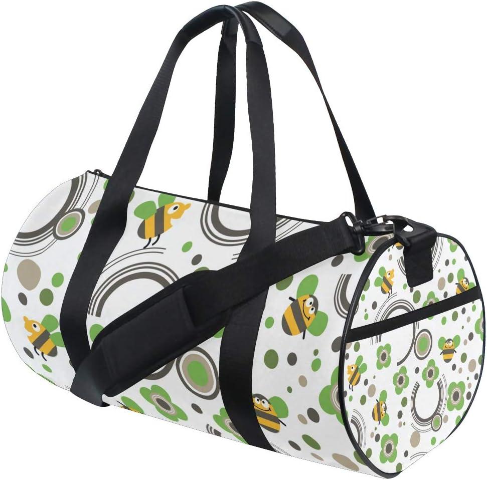 MALPLENA Happy Bee Green Flower Drum gym duffel bag women Travel Bag