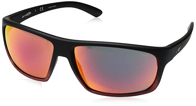 Arnette Mens Burnout Rectangular Sunglasses, Black Grad Shot Red, 64 mm