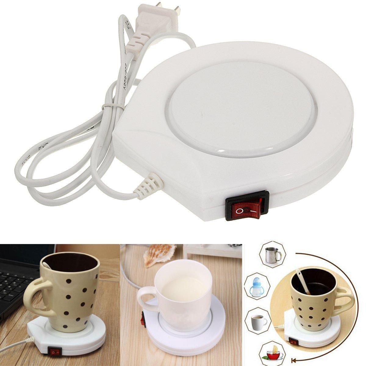 Bazaar 220v White Electric Powered Cup Warmer Heater Pad Coffee Tea Milk Mug US Plug Big Bazaar