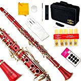 Glory Red/Gold keys B Flat Clarinet with Second Barrel, 11reeds,8 Pads cushions,case,carekit ,Click to see More colors