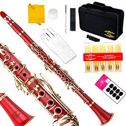 Glory Red/Gold keys B Flat Clarinet with Second Barrel, 11reeds,8 Pads cushions,case,carekit ,Click to see More colors by GLORY