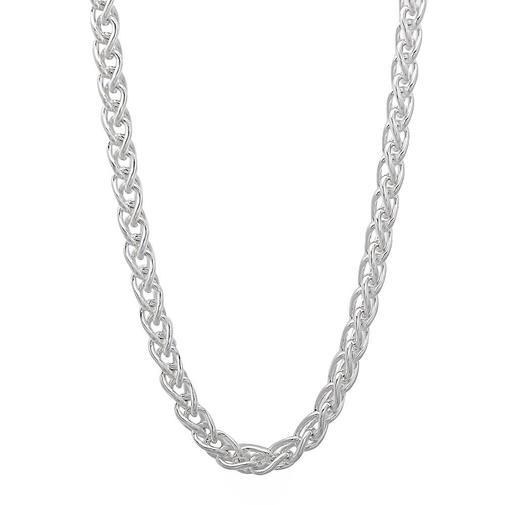 3.4mm 925 Sterling Silver Nickel-Free Wheat Spiga Chain, 30'' - Made in Italy + Bonus Polishing Cloth