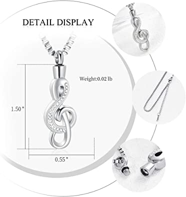 Fantasyland Jewelry Crystal Music Note Urn Necklace Cremation Memorial Ashes Holder Keepsake Pendant