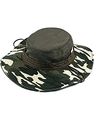 97b36f4e21f5b Leisial Sombrero Estampado De Camuflaje del Ejército de ala Ancha Borde  Redondo Anti-UV Algodón