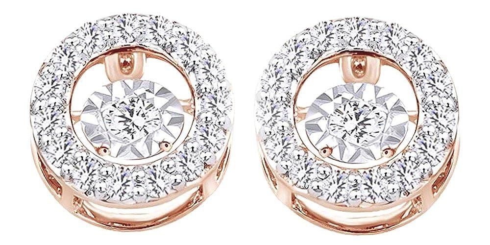 0.9 cttw, rund, Weißszlig;, Dancing Diamant-Ohrstecker in 14 kt 585, Weißszlig;Gold 14 Karat RotGold