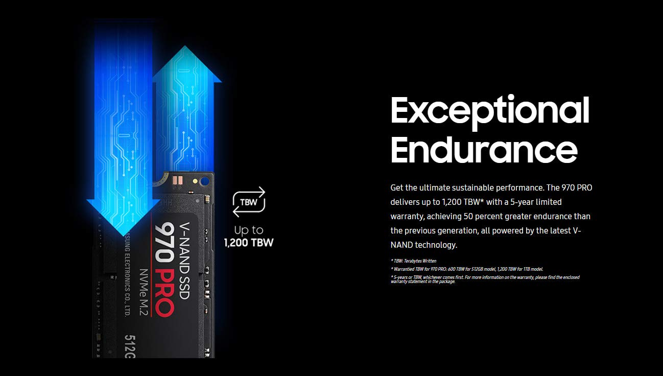 Samsung 970 PRO 6 INNOVATIVE V-NAND TECHNOLOGY: Powered by Samsung V-NAND Technology, the 970 PRO SSD's NVMe interface (PCIe Gen 3.0 x4 NVMe 1.3) offers enhanced bandwidth, low latency, and power efficiency ideal for tech enthusiasts, high end gamers, and 4K & 3D content designers BREAKTHROUGH READ WRITE SPEEDS: Sequential read and write performance levels of up to 3,500MB/s and 2,700MB/s, respectively; Random Read (4KB, QD32): Up to 500,000 IOPS Random Read PERFORMANCE OPTIMIZATION AND DATA SECURITY: Seamless cloning and file transfers with Samsung Magician Software, the ideal SSD management solution for performance optimization and data security with automatic firmware updates