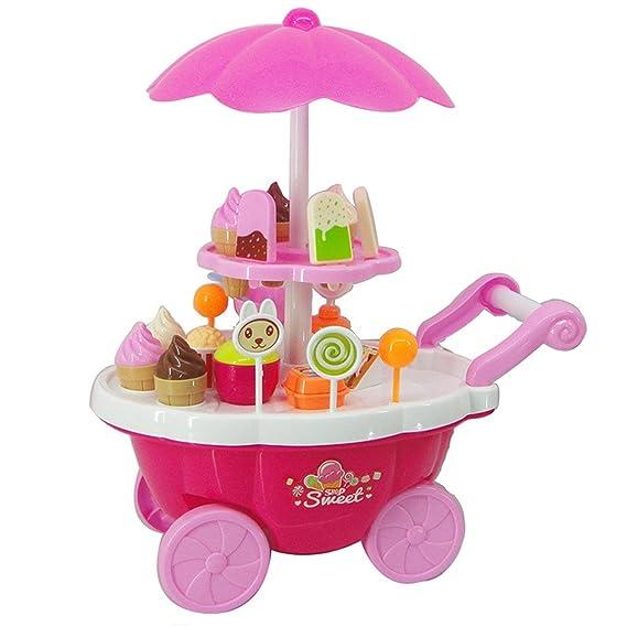 Juguete para niños Ice Cream Trolley, Juega House Toy, Juego de simulación Toy Set, Juguete de rol de niños, Mini Trolley Shop Toy con luz y música: ...