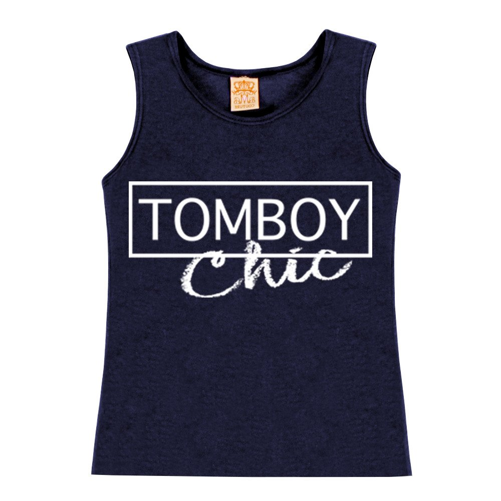Little Girls TOMBOY Chic Curved Bottom Navy Cotton Tank Tops for Casual Summer Tees