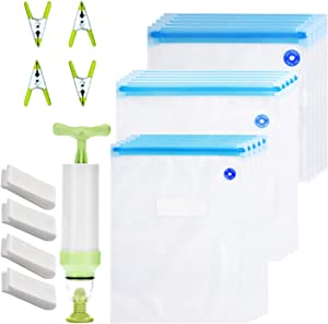 Sous Vide Bags Kit for Anova and Joule Cookers,30 Reusable BPA Free Food Vacuum Sealed Bags,1 Hand Pump,4 sealing clips, 4 sous vide bag clips, Easy to Use, Practical for Food