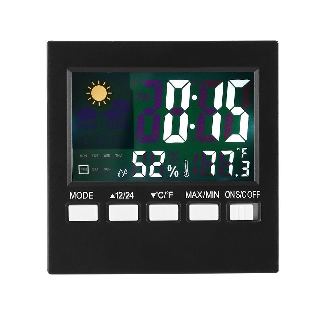 Digital Hygrometer Thermometer, Weather Station Monitor Sensor Temperature Humidity Display Clock for Home Bedroom Travel
