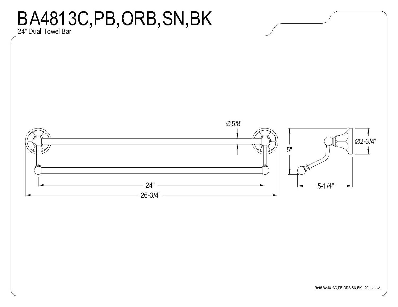 Kingston Brass BA4813C Metropolitan Double Towel Bar Polished Chrome