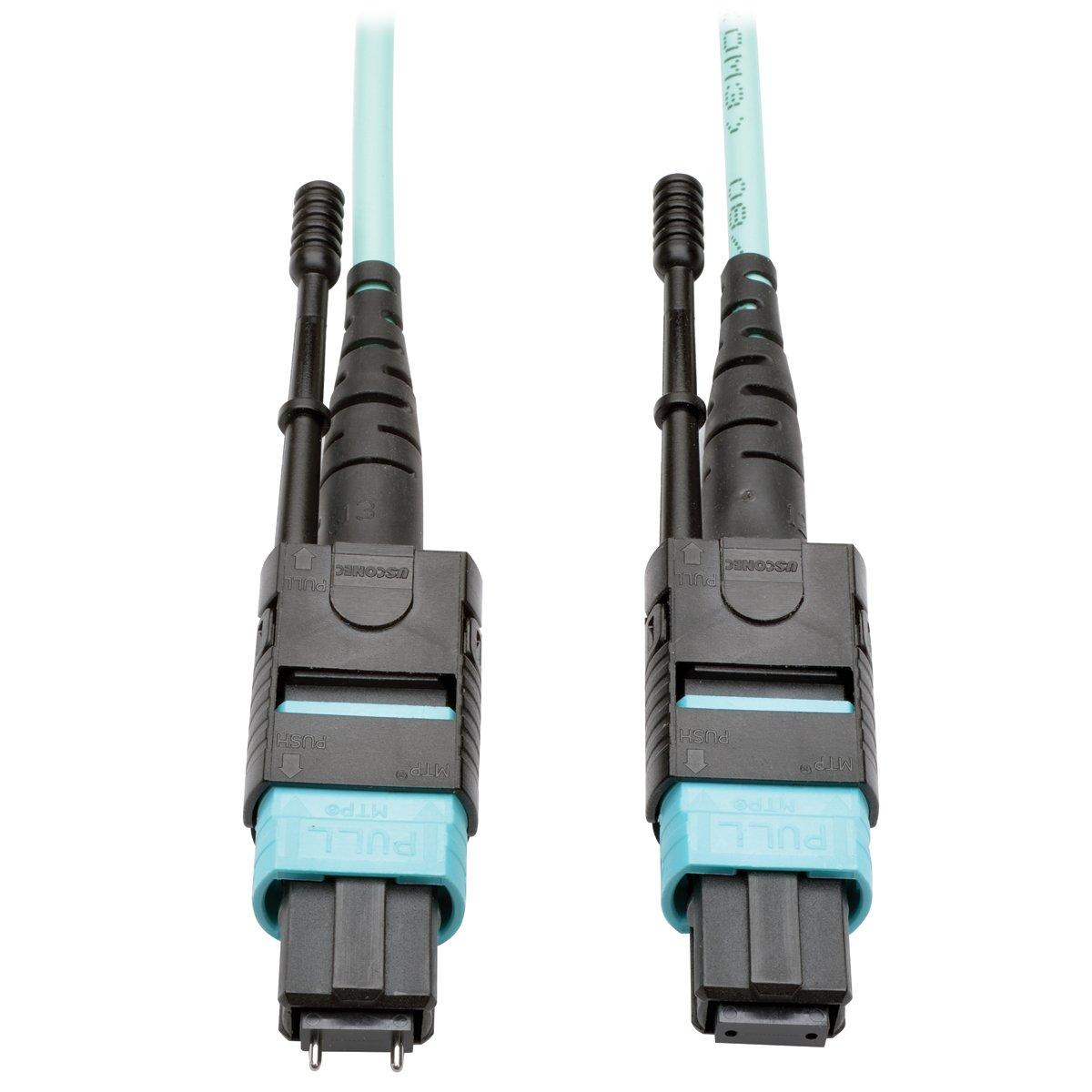 Tripp Lite 16' MTP/MPO Multimode Patch Cable, 12 Fiber, 40GbE, 40 GBASE-SR4, OM3 Plenum-Rated (M/F), Aqua, 5 m 16 ft. (N842-05M-12-MF)
