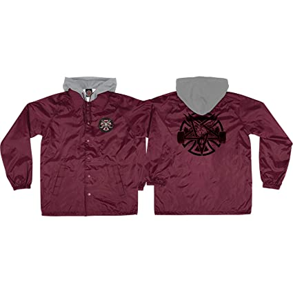 484dbeb12c2e Amazon.com  Independent Thrasher Pentagram Cross Maroon Windbreaker ...
