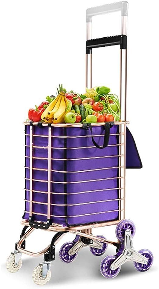WYJW Carrito de supermercado Carrito para Subir escaleras Carrito de Compras Aleación de Aluminio Liviana 8 Ruedas Carrito Grande Cesta de supermercado Plegable Mango Ajustable de 91-110 cm: Amazon.es: Hogar