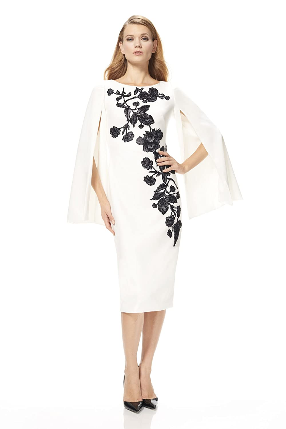 Theia Couture Women\'s Sleeveless Floral Cape Dress 10 Ivory/Black at ...