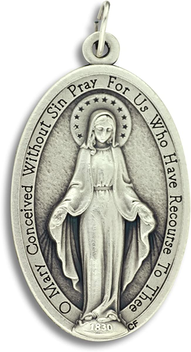 """Mary Miraculous Medal Pendant Charm Extra Large (XL) -1.75"""" Height x 1"""" Wide Silver Ox Finish Catholic -Made in Italy"""