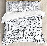 Beauty Decor Modern Duvet Cover Set School Genius Smart Student Math Geometry Science Numbers Formules Image Art Microfiber Bedding Sets with Zipper and Corner Ties Dark Purple White (4 Pcs, Twin)