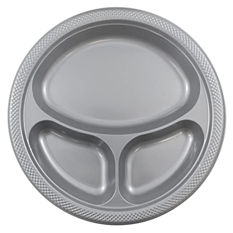 JAM Paper Plastic 3 Compartment Divided Plates - Large - 10.25u0026quot; - Silver - 20  sc 1 st  Amazon.com & Amazon.com | JAM Paper Plastic 3 Compartment Divided Plates - Large ...