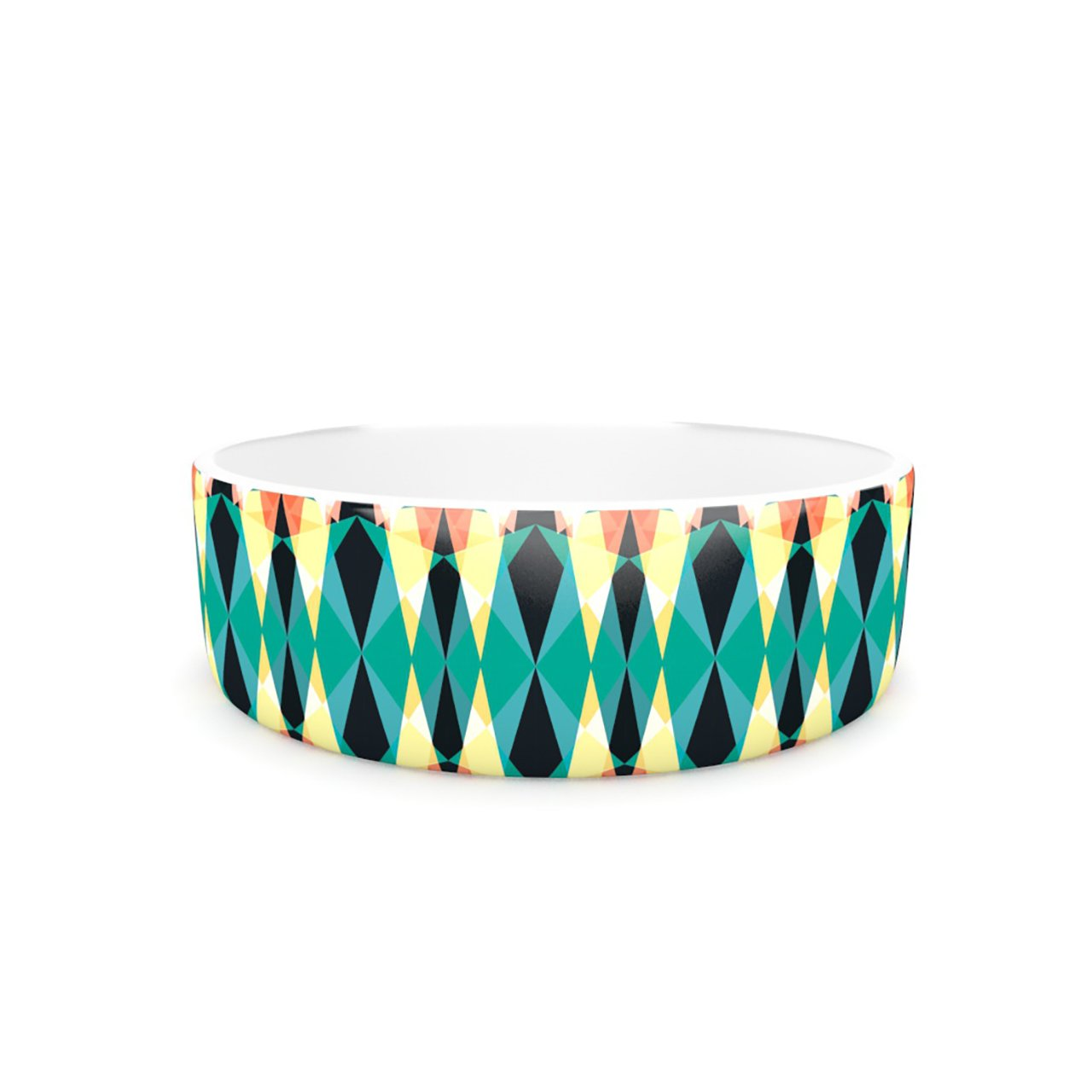 Kess InHouse Akwaflorell Triangle Visions  Pet Bowl, 7-Inch