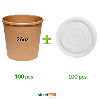 Recipiente para sopa de papel marrón con tapas de ventilación de ...