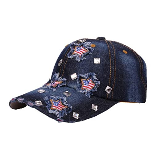 52d1207d BCDshop Denim Baseball Cap Women Men USA Flag Print Snapback Adjustable  Visor Cap Hat