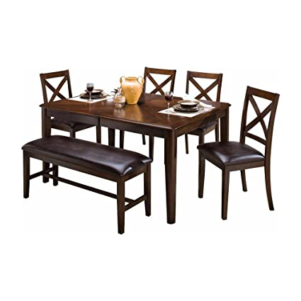 Amazon labelle 7 piece round corner dining table 6 x back labelle 7 piece round corner dining table 6 x back chairs in chestnut watchthetrailerfo