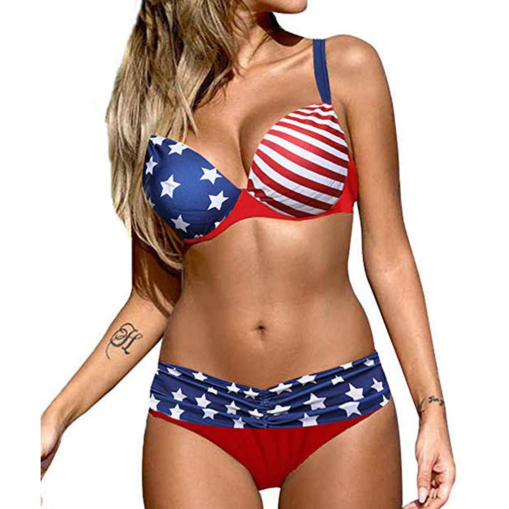 Two Piece America Flag Print Bikini Set for Women Bathing Suit Sexy Ruffled Push Up Padded High Waist Swimsuit Swimwear Daorokanduhp by Daorokanduhp Women Swimwear
