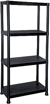 Estantería 4 estantes de 60 cm de ancho, plástico resistente, color negro (60 x 30 x 130 cm)