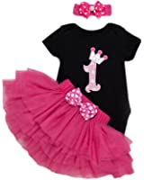 Long Short Sleeves Baby Girls' 3PCs Pink 1st Birthday Jumpsuit Tutu Skirt Headband