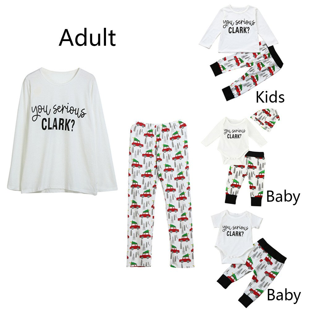 Family Matching Christmas Outfits Binmer Adult Kids Baby Letter Print Tops Pants Binmer_baby clothes Kangdanielkda-0450