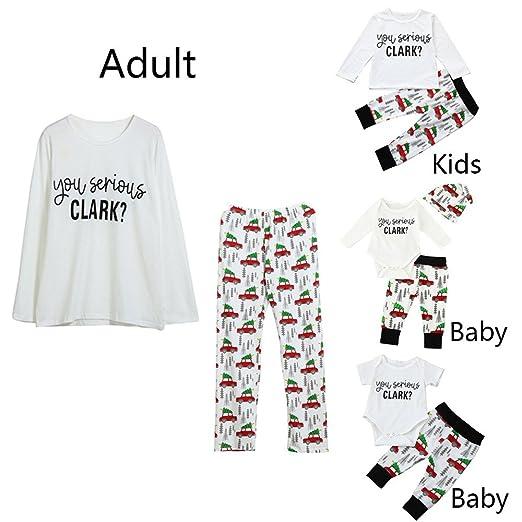 aa76cf122d Ecurson Serious Clark Print Family Matching Christmas Pajamas Set Top  Romper (Boy Girl
