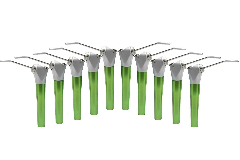 BONEW 10Pcs 3 Way Syringe with 20 Pcs Air Water Nozzles Green