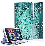 Lumia 435 Case, NageBee - Microsoft Lumia 435 Wallet Flip Case Pouch Cover Fold Stand case Premium Leather Wallet Flip Case (Wallet plum blossom)
