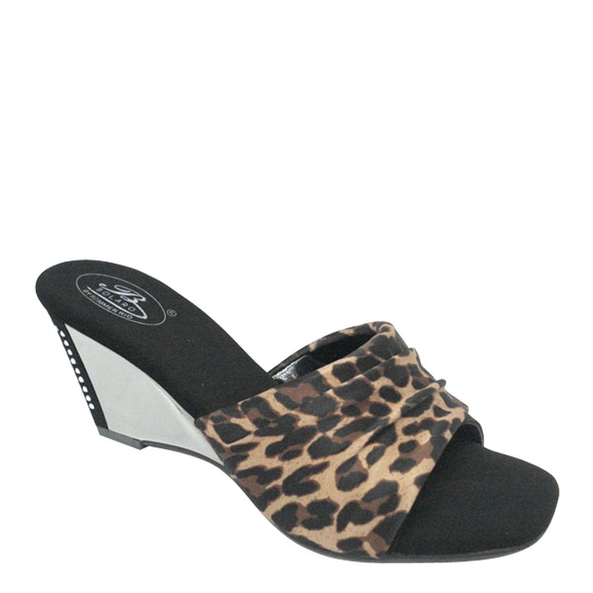 New Brieten Women's Rhinestone Wedge Comfort Slide Sandals B00HRLDLVA 8 B(M) US Leopard