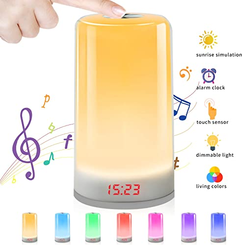 Wake Up Light, Sunrise Simulation Alarm Clock with 5 Nature Sound 3 Brightness Levels 256 Color RGB Mode and Touch Control for Kid Adults