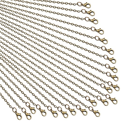 TecUnite 24 Pack Bronze Link Cable Chain Necklace DIY Chain Necklaces (20 Inch) (Bronze Chain)
