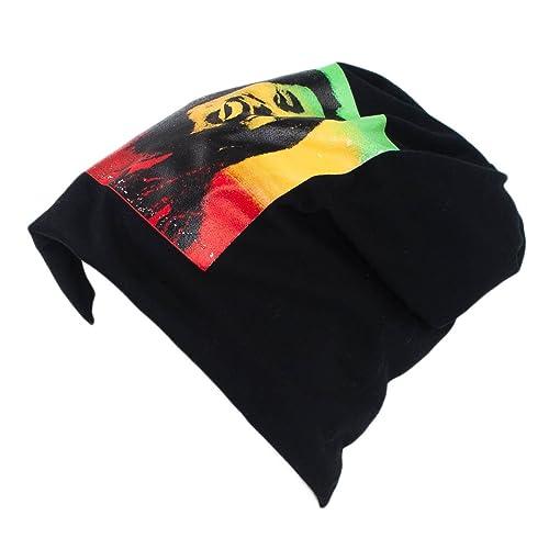 Uomo Signora Beanie/Skullies Cappello/Berretto Bob Marley Stampa – nero-rosso-dorato-verde (Rasta) (unica taglia)