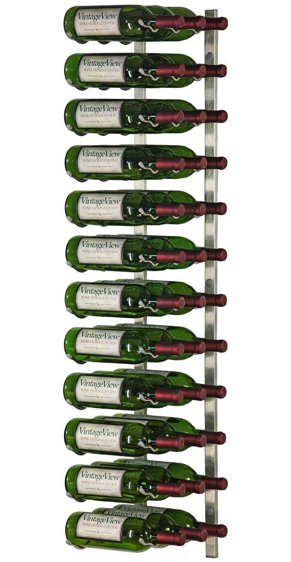 VintageView Wall Mount 36 Bottle Wine Rack in Nickel by Vintage View
