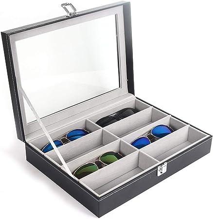 Estuche de Gafas de Sol Gafas de Sol Colección Caja Gafas de Sol Gafas Caja de Almacenamiento Apilable Caja de Almacenamiento Lente Gafas de Sol 8 Ranuras (8 Compartimentos) Caja de Gafas: