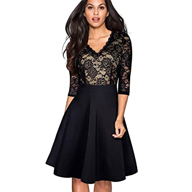NKRCE-FOREVER Vintage Black Flower Elegant Lace Ruffle Vestidos See Through Sleeve A-Line