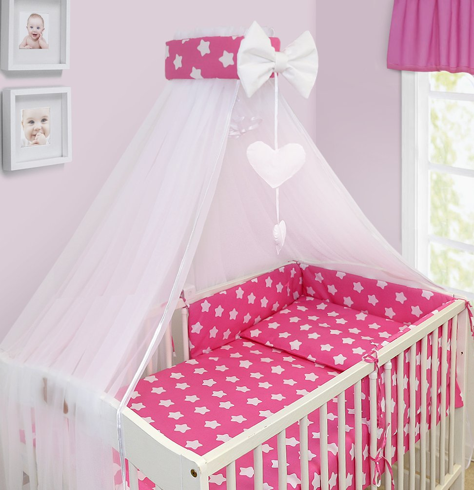6 Piece Baby Cot Bedding Set With 4 sided Bumper to fit 120x60 cm Pattern 4