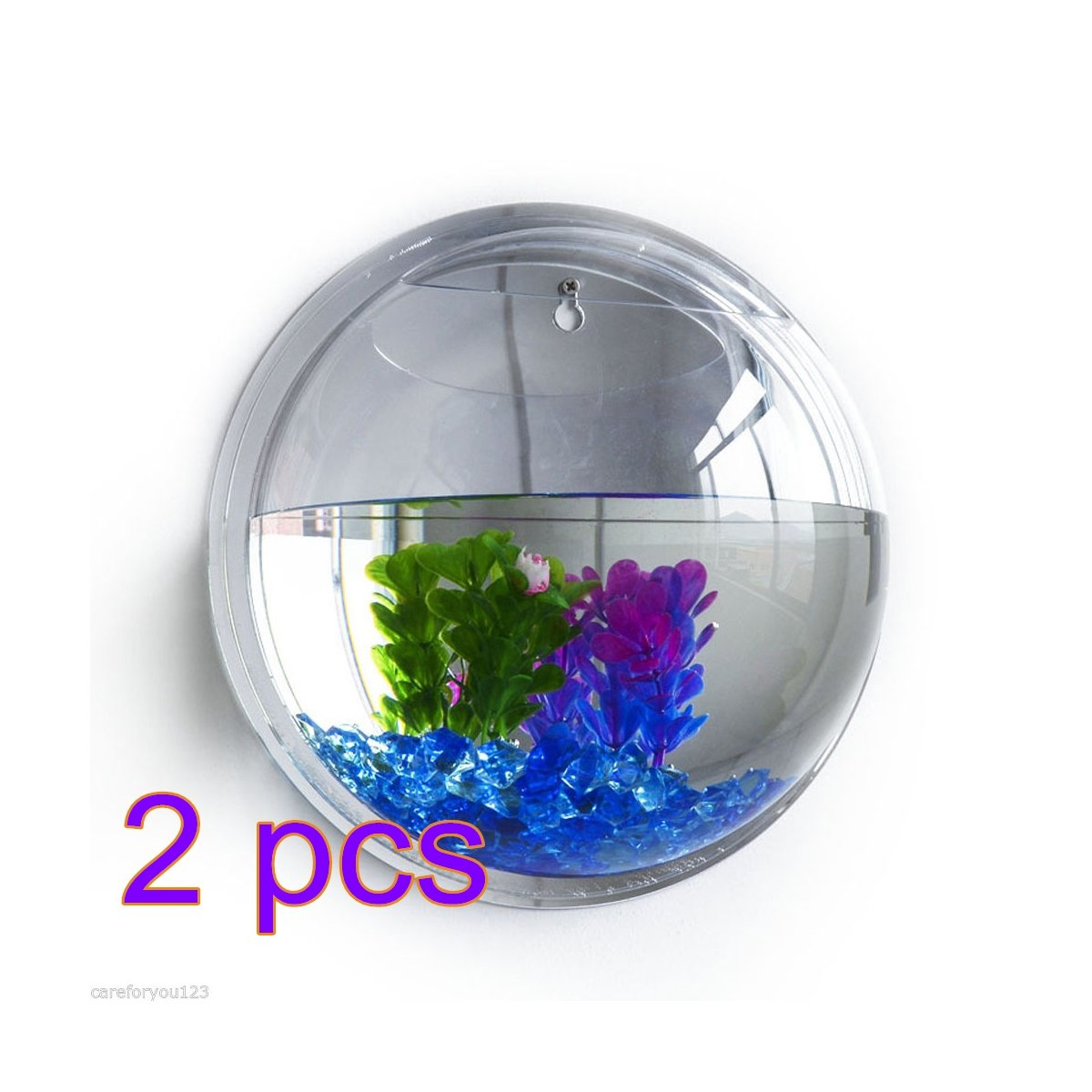 2Pack Pet Fish Bowl,ADSRO Creative Wall Mounted Acrylic Fish Tank Plant Wall Hanging Vase for Home Decoration