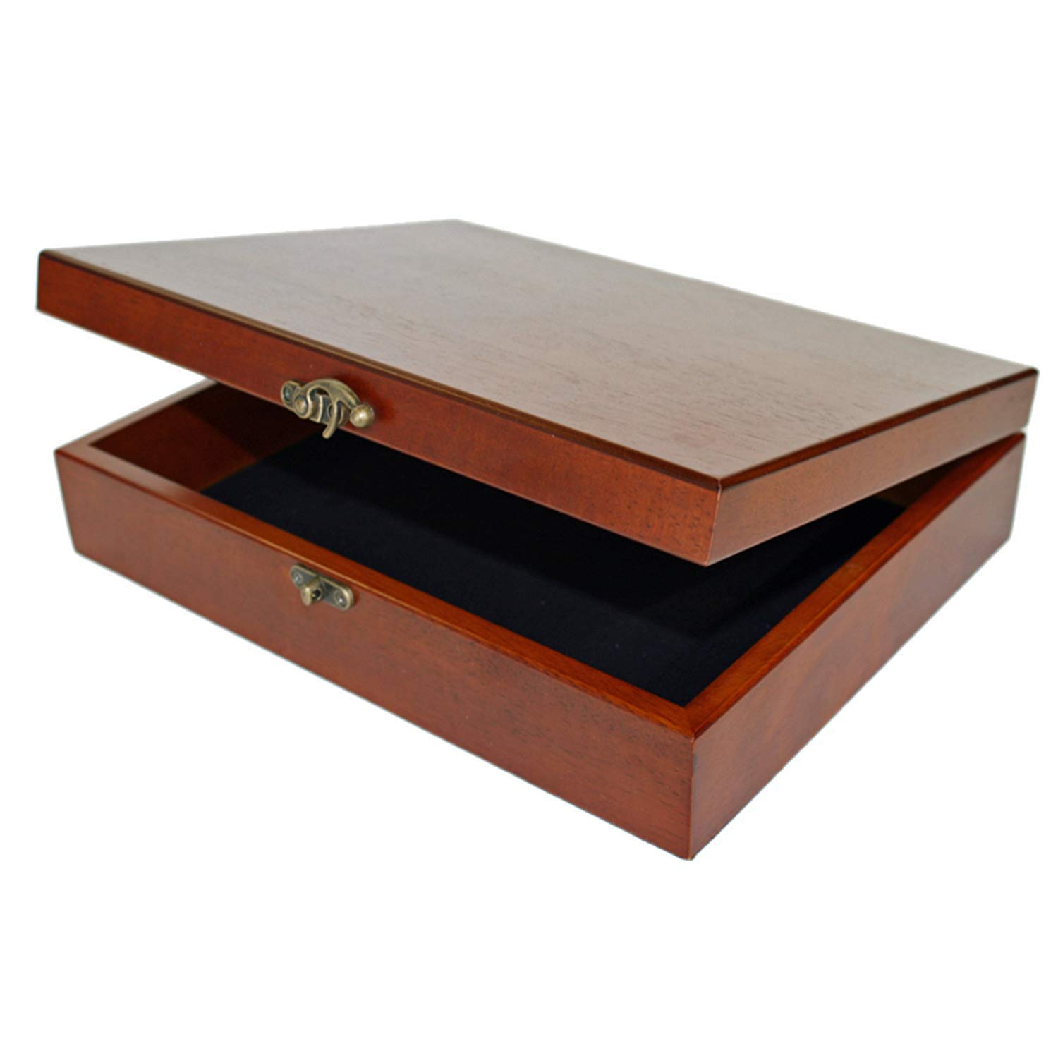 WE Games Old World Wooden Treasure Box with Brass Latch (Redwood Finish) by WE Games